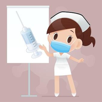 Cartoonverpleegster aanbevolen vaccinaties voor ziektepreventie en virus