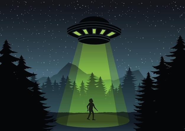 Cartoonversieontwerp van ufo-vlieg over het bos en een illustratie van een man