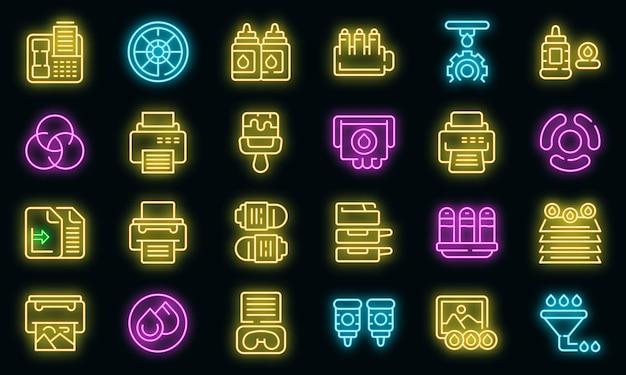 Cartridge vullen pictogrammen instellen overzicht vector. computer kopieerapparaat. digitaal apparaat