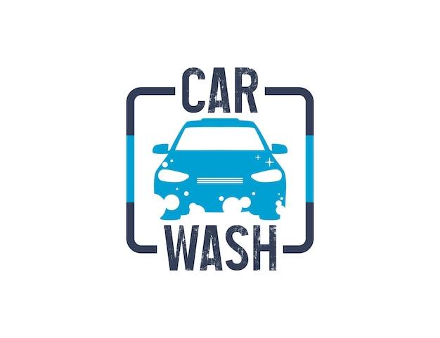 Carwash-logo-ontwerp met bubbelschuim