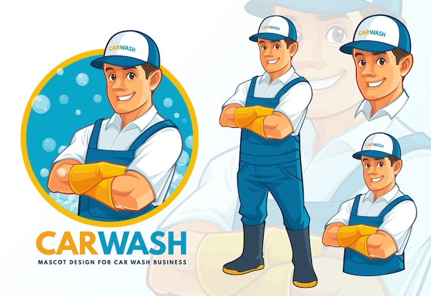 Carwash mascotte ontwerpset