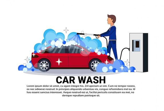 Carwashenservice werknemer reinigingsvoertuig