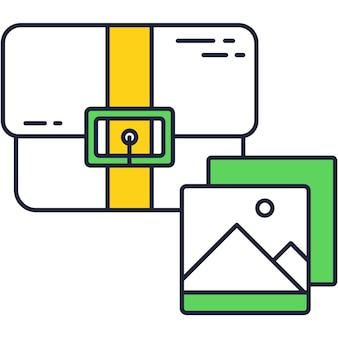 Case en afbeelding vector zakelijke portfolio icoon