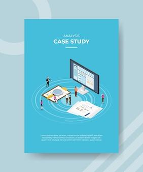 Case study concept poster sjabloon met isometrische stijl vectorillustratie