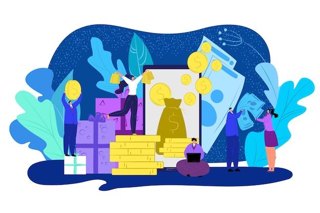 Cash back beloning concept illustratie. mensen met gouden dollarmuntstukken in hemel. geldkorting. handel, financiën en bankgarantie. terugbetaling innen en tevreden klanten.