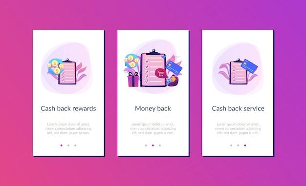 Cash-back interface-sjabloon voor apps
