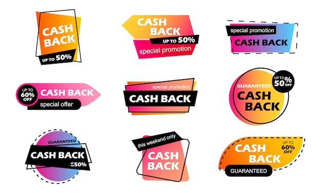 Cash back verkoop kleurrijke banners. terugbetaling van bonusgeld voor een aankoop. opbouw van contante bonussen. goede deal. afdracht. cashback