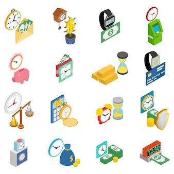 Cash tijd icon set