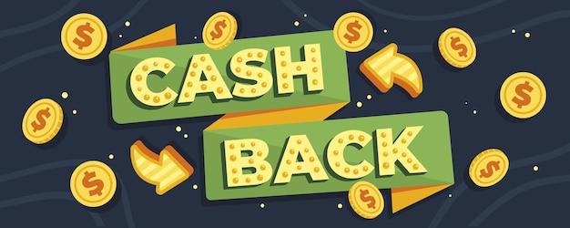 Cashback banner met geïllustreerde munten