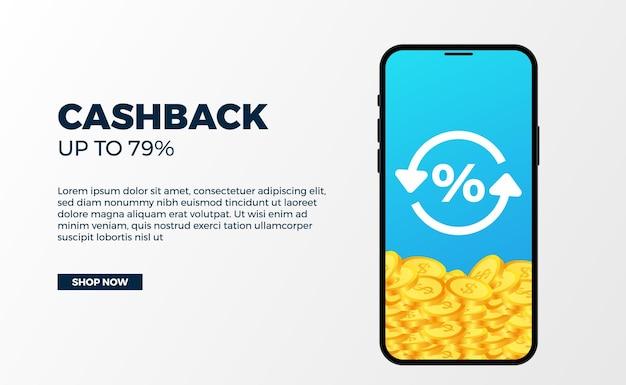 Cashback banner promotie geld reclame met 3d gouden muntstuk dollar met telefoon