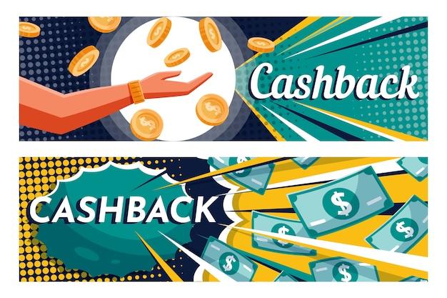 Cashback banner websjabloon en bankbiljetten