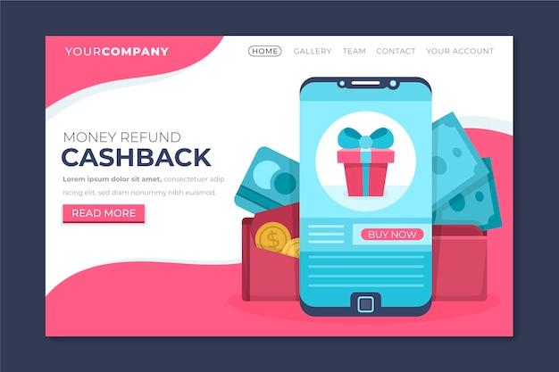 Cashback concept bestemmingspagina sjabloon