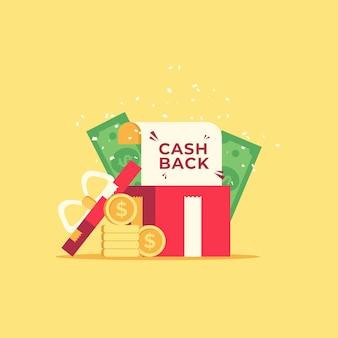 Cashback-concept met munten en bankbiljetten