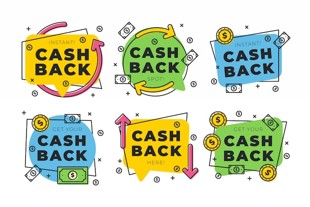 Cashback label collectie concept