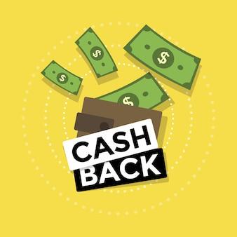 Cashback of geldteruggave. Premium Vector