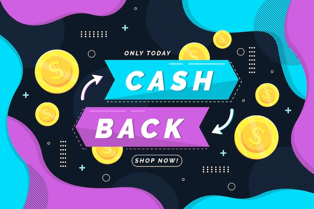Cashback-sjabloon voor spandoek met geïllustreerde munten