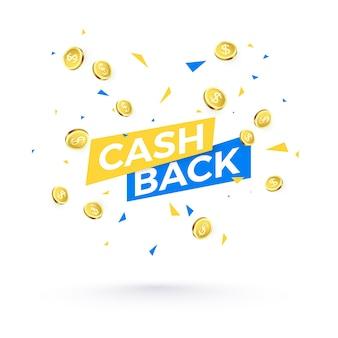 Cashback-tekst en vallende confetti en gouden munten