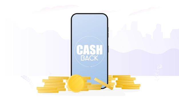 Cashbackbanner. realistische telefoon en gouden munten. moderne smartphone