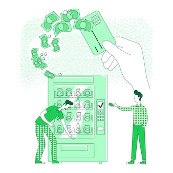 Cashless kaart dunne lijn concept illustratie. mensen die contactloos betalen bij automaat 2d stripfiguren voor webdesign. nfc, elektronisch betaaltechnologie creatief idee