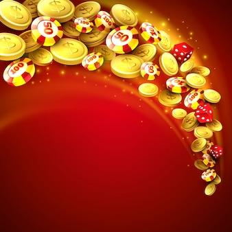 Casino achtergrond met chips, craps en geld.