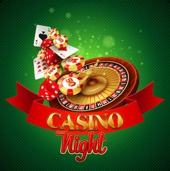 Casino achtergrond met kaarten, chips, craps en roulette.