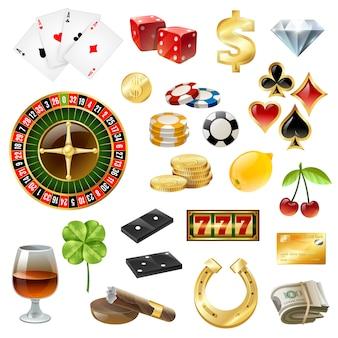 Casino-apparatuur symbolen accessoires glanzende set