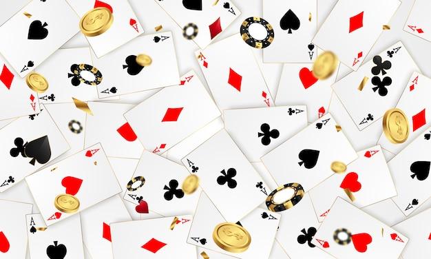 Casino banner jackpot ontwerp versierd met gouden glinsterende speelprijs teken munten.