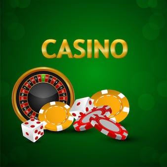 Casino banner met casinofiches, roulettewiel met dobbelstenen op groen