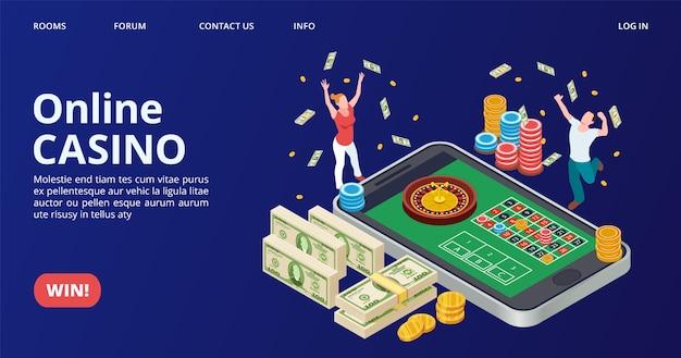 Casino-bestemmingspagina. isometrische online casino, gokken, roulette vector. gelukkig winnaarconcept