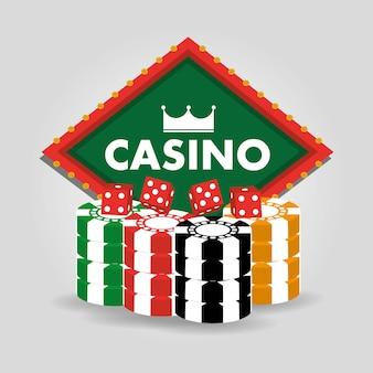 Casino billboard dobbelstenen en chips gokken poster