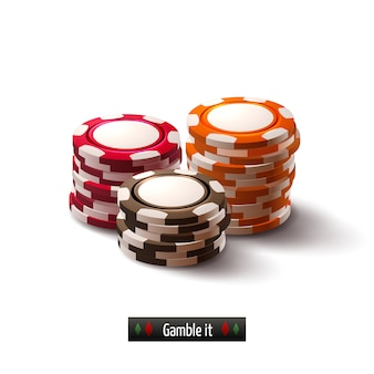 Casino-chips geïsoleerd