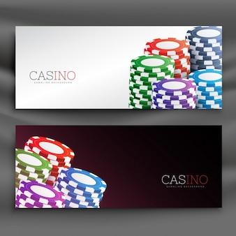 Casino chips header banners set