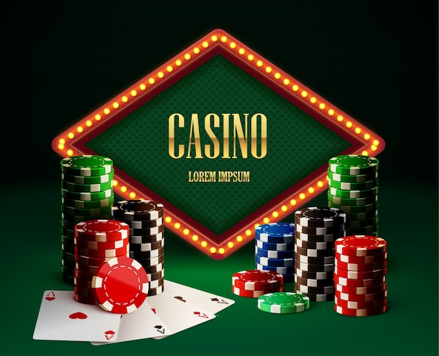 Casino chips lamp vintage banner en kaarten