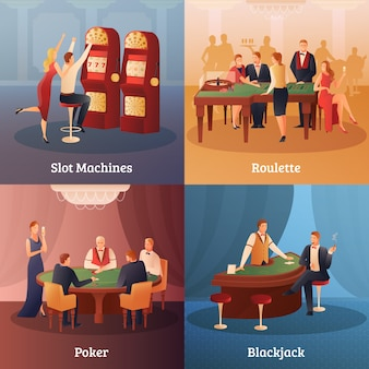 Casino concept icons set