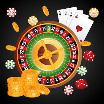 Casino concept met las vegas pictogram ontwerp