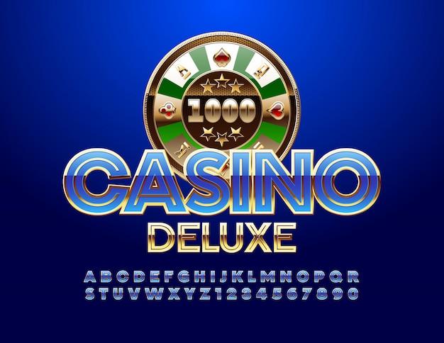 Casino deluxe embleem en blauw alfabet en cijfers