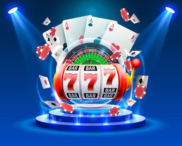 Casino dobbelstenen banner uithangbord op de achtergrond. vector illustratie