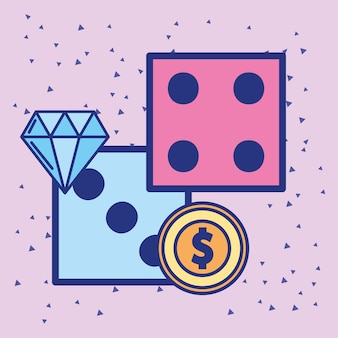 Casino dobbelstenen dubbele munt geld cartoon design