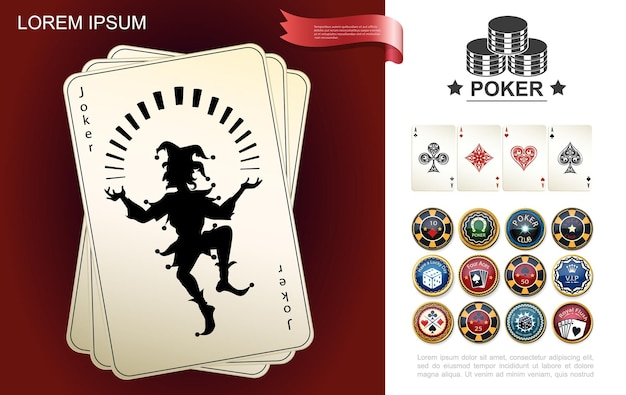 Casino en goksamenstelling met joker en azen speelkaarten pokerfiches in realistische stijl