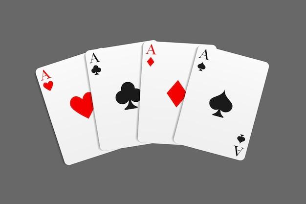 Casino en poker gecombineerd met een four of a kind hand. vectorillustratie in een realistische stijl.
