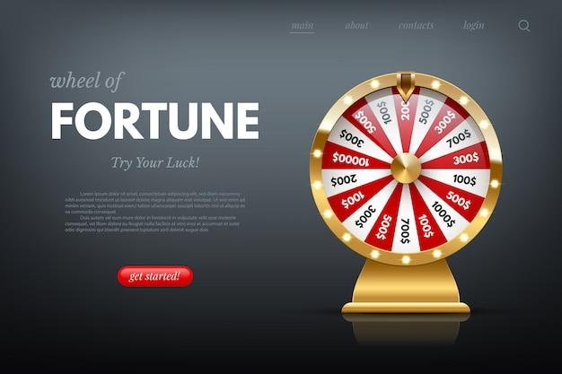 Casino fortuin wiel websjabloon. glanzend geluksgetal dat roulette rijdt. gokindustrie, entertainment, hobbyconcept.