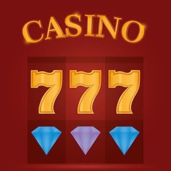 Casino game diamanten en zevens vector illustratie grafisch ontwerp