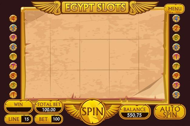 Casino-gokautomaatspel in egypte-stijl. volledige interface slotmachine en knoppen op afzonderlijke lagen.