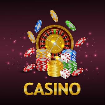 Casino gokspel met casinofiches en roulette