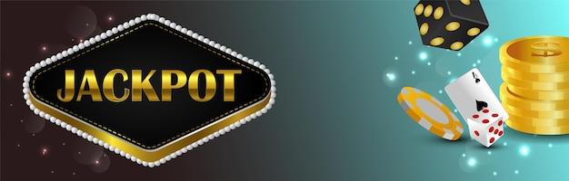 Casino gokspel met gouden munten, chips en dobbelstenen