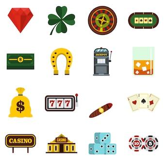 Casino instellen plat pictogrammen