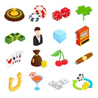 Casino isometrische 3d-pictogrammen instellen