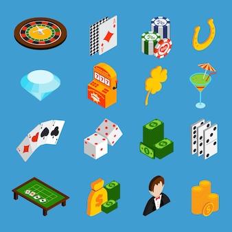 Casino isometrische pictogrammen instellen