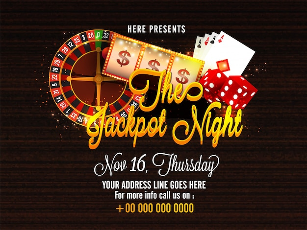 Casino jackpot nacht poster, banner met verschillende elementen.