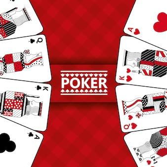 Casino kaarten spelen poker rood geruite achtergrond